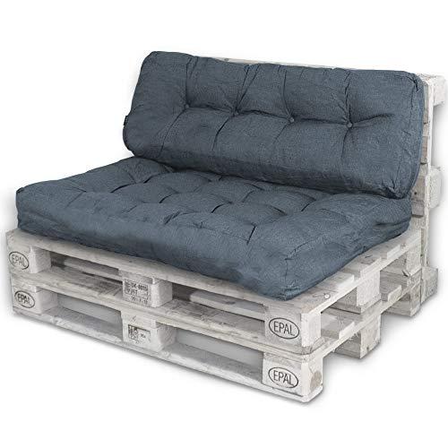Bobo Palettenkissen Palettenauflagen Sitzkissen Rückenlehne Kissen Palette Polster Sofa Couch (Set Sitzfläche + Rückenteil, Dunkelgrau)