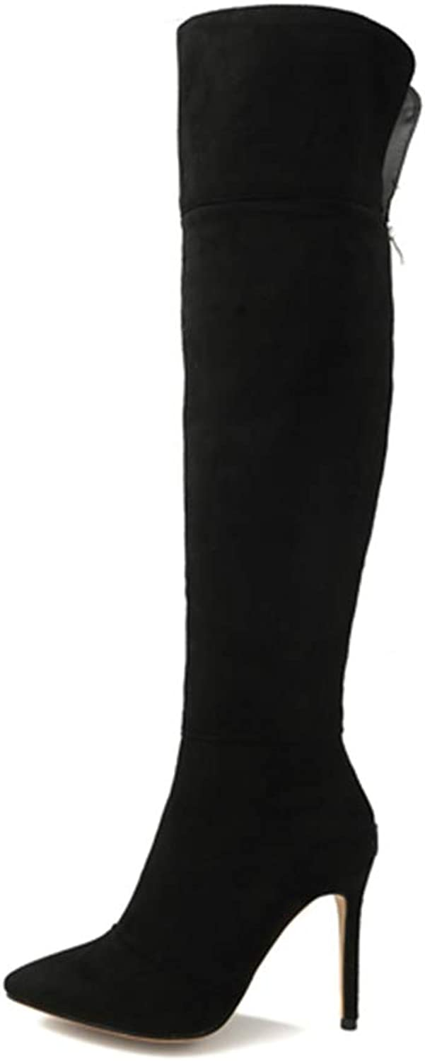 T-JULY Winter Women Over The Knee Boots Flock Thigh High Heel Ladies shoes