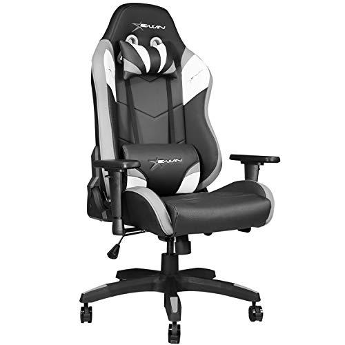 E-WIN ゲーミングチェア D9-GY(グレー) オフィスチェア 前傾機能 リクライニング 肉厚 専用オットマン取り付け可能 高さ調整 前傾チルト 通気性 腰痛 椅子 PUレザー 最大荷重150kg