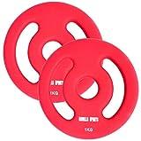 GORILLA SPORTS® Hantelscheiben-Set Neopren 30/31 mm Bohrung – 2er-Set Gewichte mit Griffen Gusseisen 2 kg - 2 x 1 kg