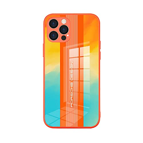 Adecuado para iPhone12 caso de vidrio templado Apple 12pro max personalizado esmerilado teléfono móvil caso-Porsche-Orange_8 Pro