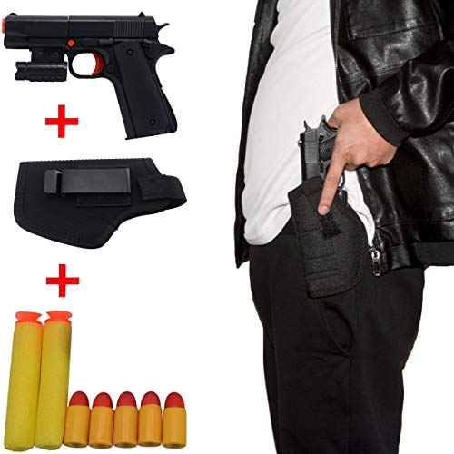 WAOOTUENTL Kid Toy Gun Classic m1911 Toy Gun Kids Colorful Toy Gun with Soft Bullets, Black Thigh Tactical Holster, Teach Shooter and Gun Safety, Real Dimensions, Fun Outdoor Game