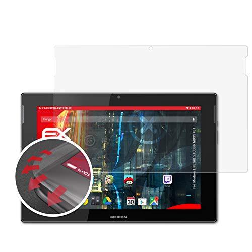 atFolix Schutzfolie kompatibel mit Medion LIFETAB S10366 MD99781 Folie, entspiegelnde & Flexible FX Bildschirmschutzfolie (2X)