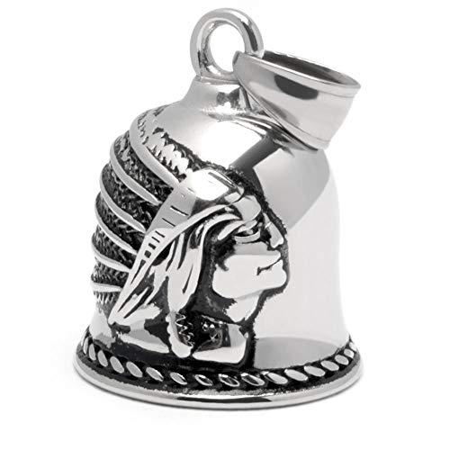 Schmuck-Checker Hochwertige Biker-Bell aus Edelstahl Tiger Löwe Totenkopf Drache Kreuz Maske Silber Motorrad Glücksglocke Geschenk Bikerschmuck Motorradschmuck Glücksbringer Herren Männer (Indianer)
