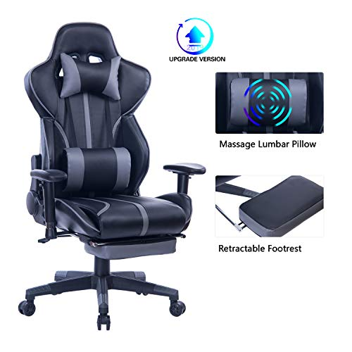 Blue Whale Gaming Chair with Adjustable Massage Lumbar Pillow,Retractable Footrest and Headrest -Racing Ergonomic High-Back PU Leather Office Computer Executive Desk Chair 8239Grey blue chair gaming