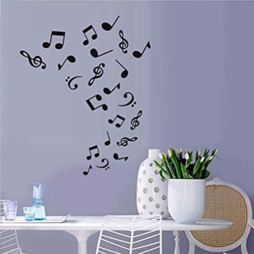 Pegatinas de pared 44X54 cm Decoración de pared DIY Decoración para el hogar Notas musicales Calcomanía Vinilo TV Mural Etiqueta de la pared Papel tapiz de fondo para sala de estar extraíble