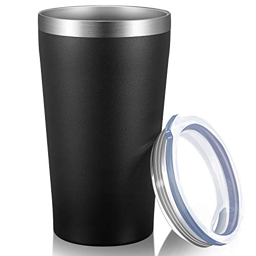 MEWAY 16oz Tumbler Stainless Steel Travel Coffee Mug with Lids Double Wall Insulated Coffee Cup for Home Office Travel GreatGift for Women Black 1 pack