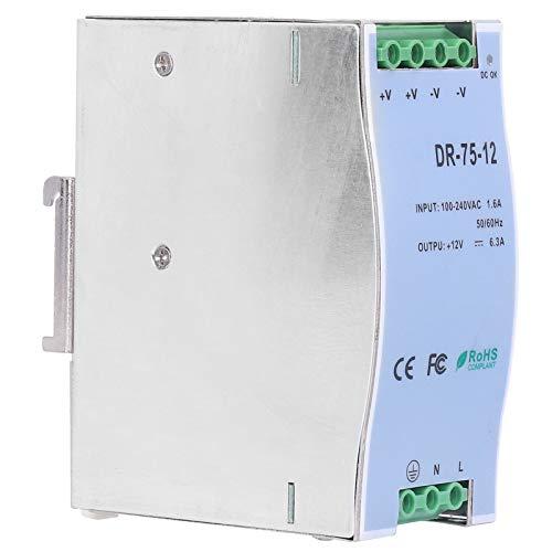 Fuente de alimentación de carril DIN, potencia de conmutación de carril regulada ajustable, suministros industriales LED serie DR/DIN, para cajas de fusibles, gabinetes de control(DR-75-12)