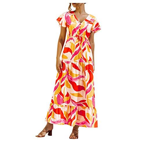 feftops Mujer Largo Vestido Bohemio Estilo Casual Fiesta Vestido Encaje con Estampado Flores Cuello En V de Manga Corta Falda Larga Vestidos