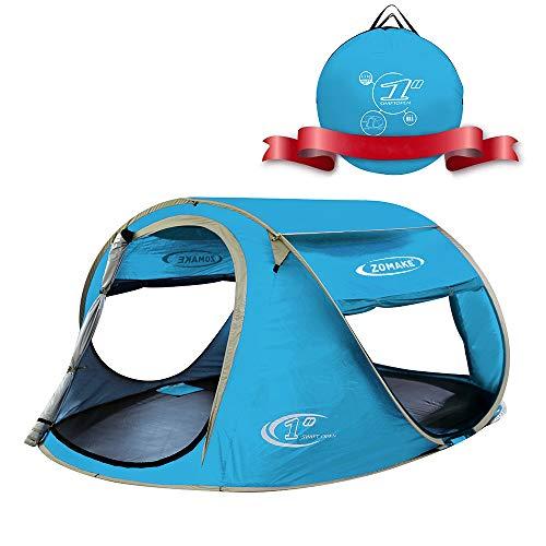 KEUMER Plegable Tienda de Playa para 3-4 Personas, Portatil Pop Up Tienda de Playa para Bebé Protección Solar Anti UV 50+(Azul Claro)L