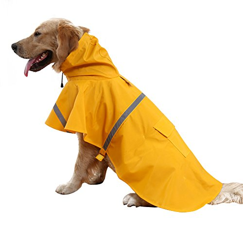 Kismaple Leggero Regolabile Riflettente Impermeabile Giacca per Cani, impermeabile con cappuccio per cani di piccola, arancia, XXL Petto: 96-105cm