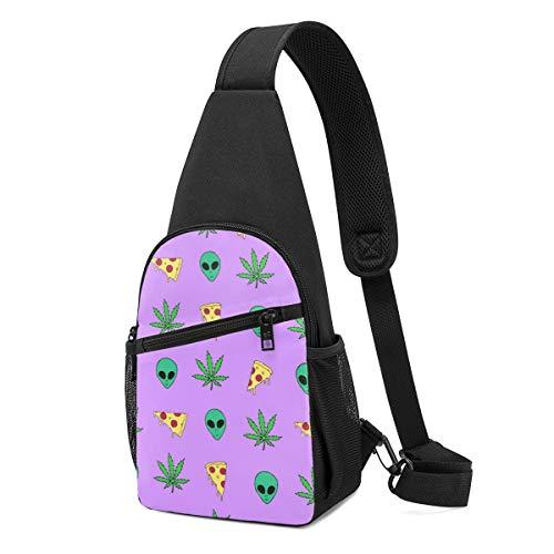 Sunny R Paquete de Pecho para Hombres Marihuana Pizza Aliens Bolso Cruzado Ligero con Correa de Hombro Ajustable para Ir de Compras Ir de Excursión Deportes Al Aire Libre