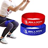 5BILLION Fabric Resistance Bands Hip Exercise Bands - for Booty, Thigh & Glutes - Soft & Non-Slip Design Loop Set (Set of 2(red+Blue))