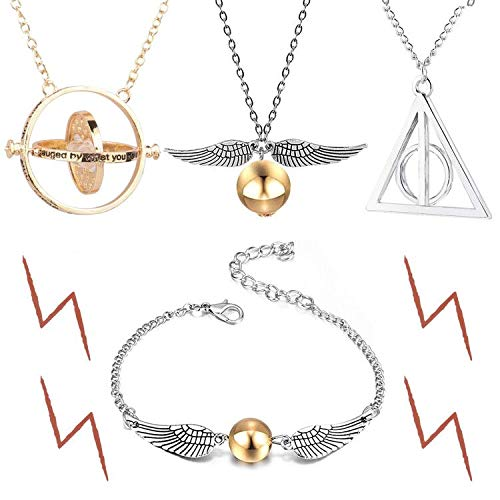 4 Piece Deathly Hallows Necklace Bracelet Golden Snitch Time Turner Chain Pendant Necklace for Inspired Fans Gifts Collections
