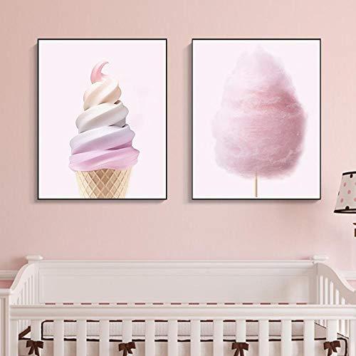 YDGG Fotokunst, ijs, katoen, suiker, druk in Scandinavische stijl, canvas voor woonkamer, initiaal, wanddecoratie, 50 x 70 cm, 2 stuks zonder lijst