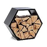blumfeldt Firebowl Hexawood - Compartimento para leña, Para interiores y exteriores, En forma de hexágono, Resistente intemperie, Estructura de acero, 50,2 x 58 x 32 cm, Negro