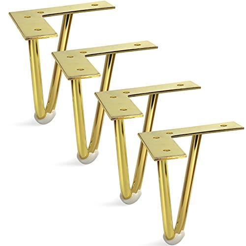 Sopicoz Piernas de muebles doradas, patas de gabinete de alta resistencia, metal para el hogar, proyectos de bricolaje para aparador, soporte de TV (5 pulgadas)