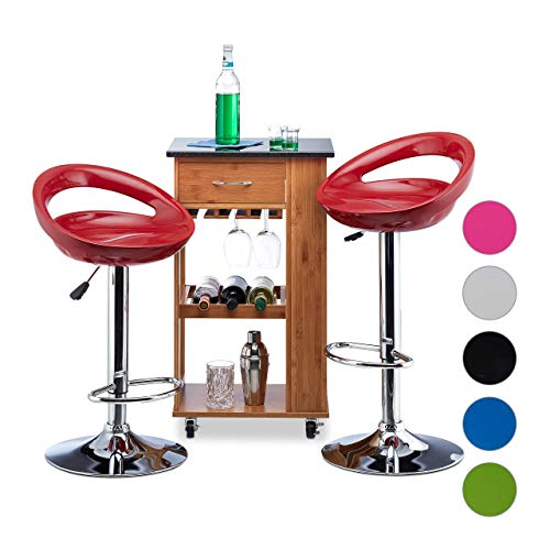 Relaxdays Taburete Alto Cocina Giratorio, Metal-Plástico, Rojo, 99 x 46 x 39 cm, 2 Unidades, Acero, 98,5 x 46 x 39 cm