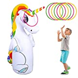 olyee Inflatable Unicorn Punching 3-D Bop Bag,Kids Punching Inflatable Bag Children Sandbags Boxing Target Bag with 6 Toss Rings for Children and Adults