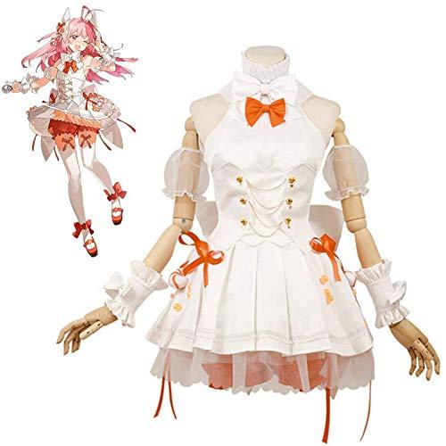 QQA Lolita De Las Mujeres Vestido Anime Lenguaje de la Dieta Empanadillas de camarones Traje de Cosplay para Halloween Partido,Beige,S