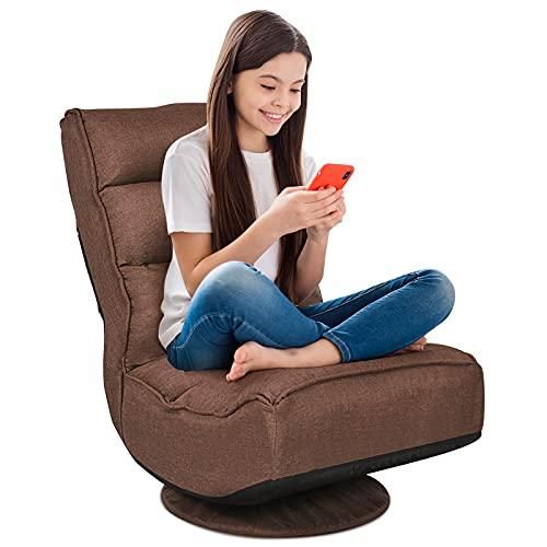 RELAX4LIFE Bodenstuhl mit 360° drehbarem Sockel, Bodensessel mit 5 winkelverstellbarer Rückenlehne 90°-135°, klappbarer Relaxsessel, bis 120kg belastbar, Lazy Sofa für Wohnzimmer und Büro (Braun)