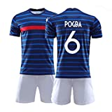 Sudadera de fútbol para niños y Hombres, Paul Pogba Jersey, Mangas Cortas de Deportes Transpirables, tamaño estándar (Color : Blue, Size : Adult-XL)