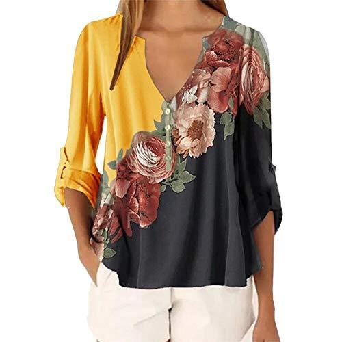 FYMNSI Damen Tunika Top Bluse Blumen Druck Locker Freizeit Langarm V-Ausschnitt Knopfleiste Henley Shirt Lässige T-Shirt Elegant Chiffon Oberteile für Sommer Herbst Gelb 2XL