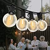 Guirnaldas Luces Exterior, Yuusei 30M Guirnaldas Luminosas de Exterior con 50+2 LED Bombillas IP45 Impermeable G40 Cadena de Luces Exterior par Jardín, Terraza, Patio - Blanco Cálido