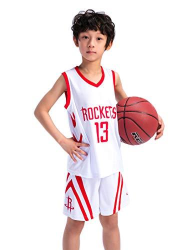 Kinder Madchen NBA Houston Rockets 13# Harden Retro Basketball Shorts Sommer Trikots Basketballuniform Top & Shorts Basketball Anzug