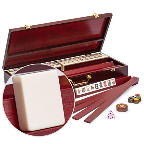 Yellow Mountain Imports American Mahjong Set, Classic Royale II with Redwood Veneer Case, Four Wooden Pusher Racks, Wind Indicator, Dice and Wright Patterson Count Scoring Coins