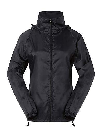 Cheering Spmor Women's Lightweight Jackets Waterproof Windbreaker Jacket Running Coat L Black