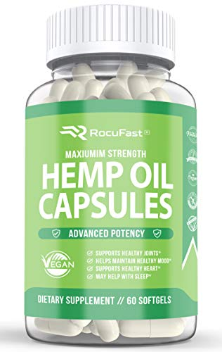 Hemp Oil Capsules for Pain Relief Stress Relief Mood Support Sleep Support Immune Support Omega 3 6 9 Softgels for Men and Women 1000mg - Compare to Gummies Powders and Liquid Drops (1-Pack, 60 Count)