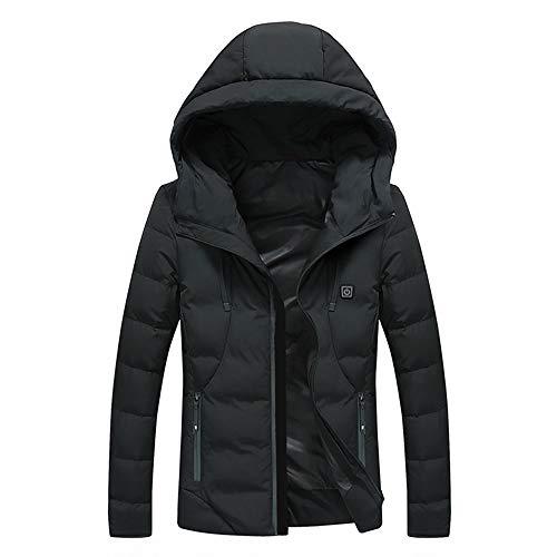 Heren jas met capuchon, voor herfst en winter, casual smart-warme tops, 3 temperatuurinstellingen voor outdoor skiën, wandelen, jagen, motorfiets, camping (kleur: zwart, maat: XL)
