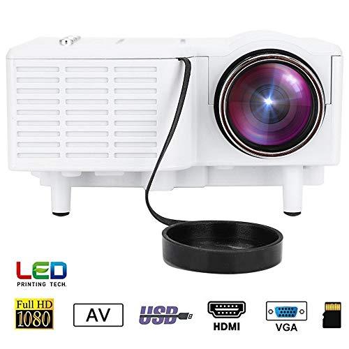 Mugast UC28 Mini Proyector Portátil HD LED 1080P Vídeo Proyector Cine en Casa,con 100,000 Horas de Uso, Soporta Más de 15 Formatos de Video y Audio.(Blanco)