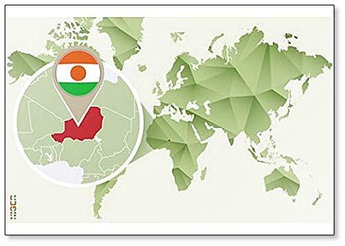 Kühlschrankmagnet Weltkarte mit Niger & Flagge