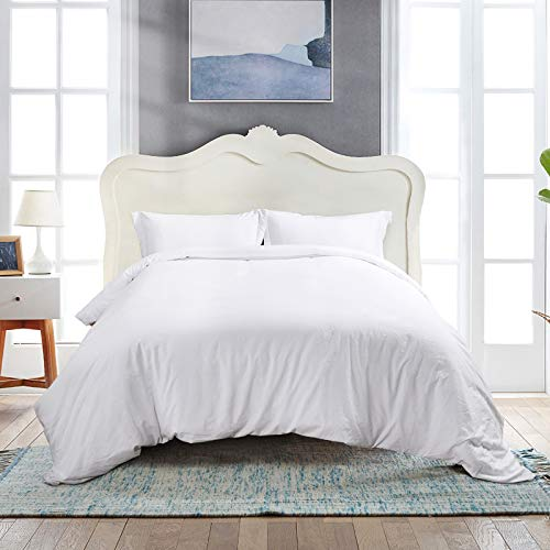 viewstar White Duvet Cover Set,3 Piece Luxury Soft Bedding Set with Zipper Closure,100% Washed Soft Double Brushed Microfiber, Hypoallergenic, Solid Color Duvet Cover Queen Size(No Comforter)