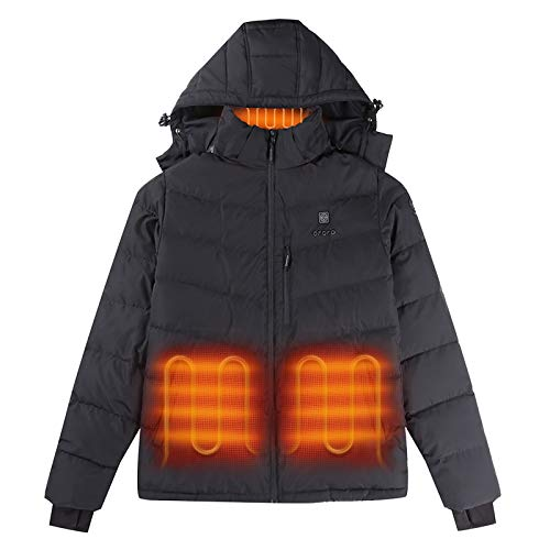 ORORO 2021 Men's Heated Jacket with Heated Collar and 90% Down Insulation (Battery Included) - Black (L)