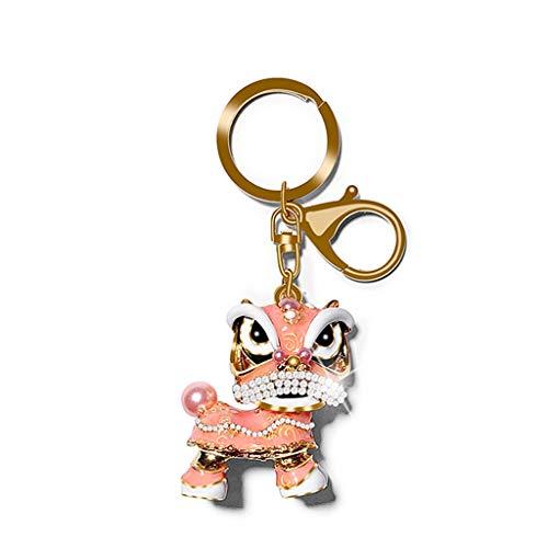Kiter Llavero del Brillo de Las Lentejuelas Pompón Llavero Regalos for la joyería de Las Mujeres del Bolso del Coche Anillo Accesorios Anillo dominante (Color : Pink)