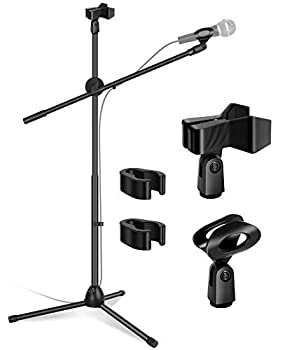 InnoGear Microphone Stand Foldable Tripod Boom Stand Adjustable Height Heavy Duty Mic Boom Stand with Dual Mic Clip Holders and Metal Base for Singing Speech Stage Outdoor Activities