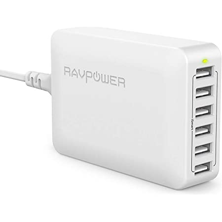 USB Charger RAVPower 60W 12A 6-Port Desktop USB Charging Station with iSmart Multiple Port, Compatible iPhone 12 Mini SE 11 Pro Max XS XR X iPad Pro Air Mini Galaxy S10 Note 10 Tablet(White)