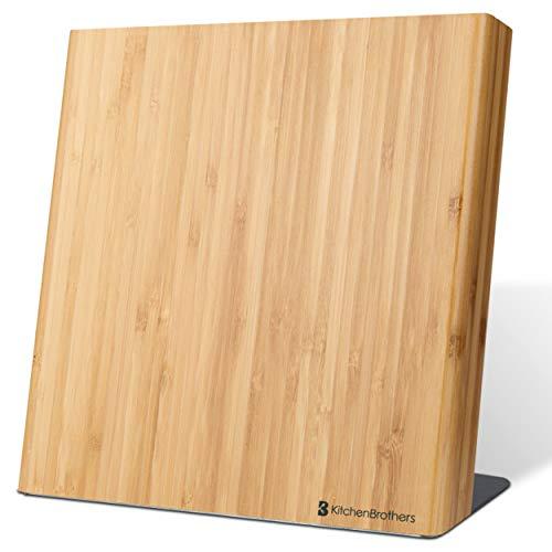 Magnetisch Bamboe Messenblok voor 5 Messen - Universeel Bamboo Messenhouder zonder Messen - Messenopberger Magneet - Hout/RVS