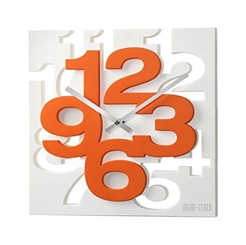 GMMH orologio da parete dal design moderno 3D, 1106, orologio da cucina, orologio per il bagno, orologio per l'ufficio, decorazione discreta, (colore bianco e arancione), bianco/arancione