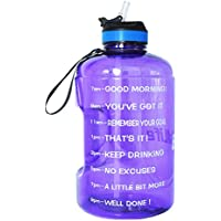 BuildLife Gallon Motivational Water Bottle Wide Mouth with Straw & Time Marked