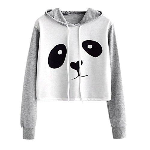 VJGOAL Mujeres otoño Moda Casual Dibujos Animados Lindo Panda Imprimir Costura Color sólido Sudadera Blusa de Manga Larga con Capucha Pullover Tops Camisa(S,Gris)