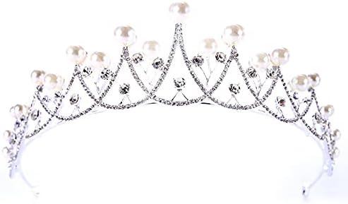 Arrogant Prinsessendiadeem bruiloft kroon bruid tiara bruiloft bruid diadeem hoofdband parel prinsessenkroon haarsieraad voor bruid