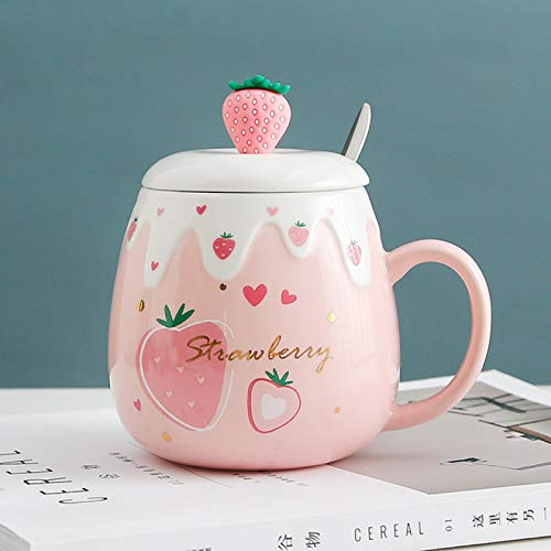 MHBY Cup, cartoon ceramic cup with lid cute strawberry cup student children water cup creative gift mug coffee cup mug