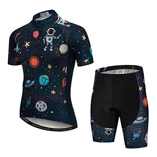 """PSPORT Men's Cycling Jersey Set Short Sleeve Bike Clothing Reflective, 6, Chest40""""-42.5""""=Tag XL"""
