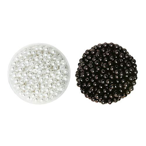 joyMerit 1000x6 Mm Blanco Negro Perla de Imitación ABS Plástico Perlas Sueltas Perlas Pequeñas de Satén Lustre Perlas Redondas de Imitación con Orificio para S