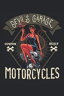Devil's Garage Motorcycles: Motorcyclist motorcycle workshop devil vintage style biker gifts notebook dot grid dotted (A5 ...