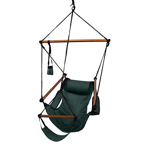 Hammaka Hanging Hammock Air Chair, Wooden Dowels, Green